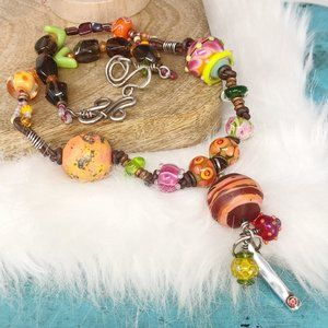 Sterling Pink Gemstone Glass Bead Necklace Beach